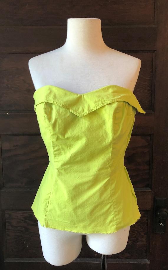 Vintage Chartreuse Bustier Sun Top with Boning | V
