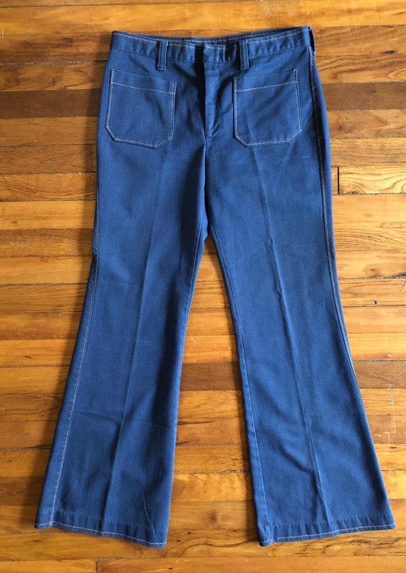 Vintage 1970s Denim Bell Bottom Jeans - image 1