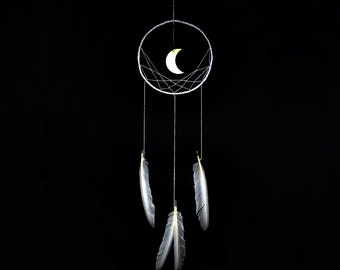 Wall hanging dreamcatcher, moon dream catcher, white, dream catcher, large, handmade, bedroom, nursery, home decor, modern, minimalist,