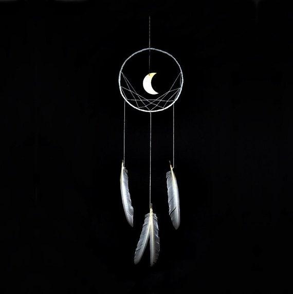 Wall Hanging Dreamcatcher Moon Dream Catcher White Dream Etsy