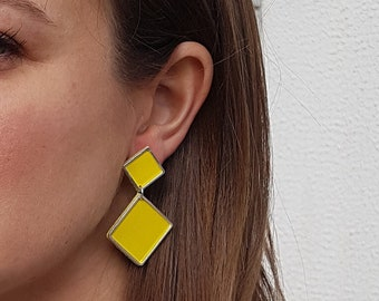 Earrings, leather and brass, pierced or clip-
