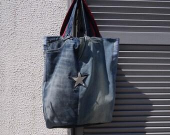Sac Upcycling - jeans - modèle unique réalisé avec des détails de jeans à  recycler doublé coton style tartan 11d96f6c41c
