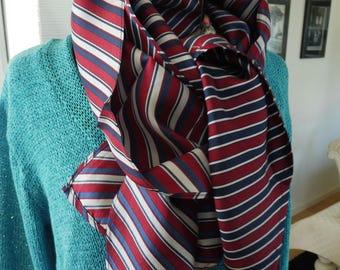 Long cheche foulard 100 % soie - Homme - bleu marine rouge et blanc 694aa3dd3bf
