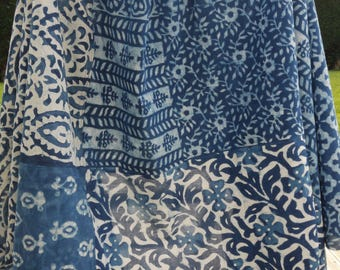 Tablecloth or bedspread thrown of sofa or still panel for curtain - indigo Indian cotton net - craft creation