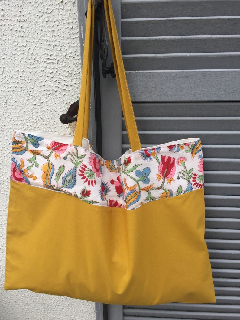 and Indian fabric block print strip unique style manual printing Mustard tote-bag