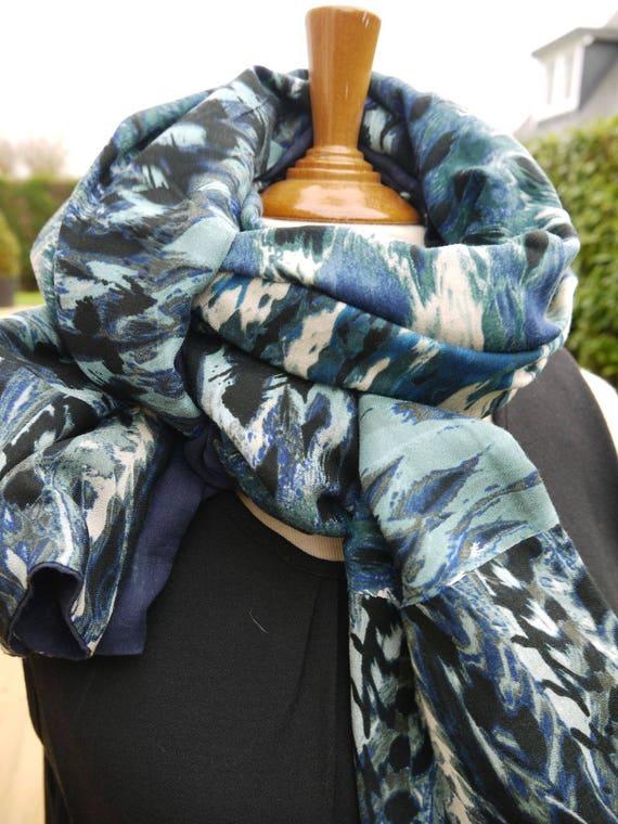 Long foulard cheche double face bleu turquoise fonce...   Etsy a9d89ec4edd