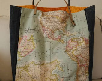 Tote bag with world map - jeans upcycled - 2 faces - unique - made in France