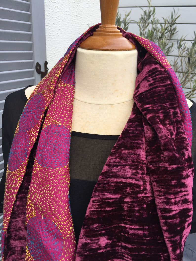 or collar embroidered silk and silk velvet 2 different faces Snood neck tubular scarf UNIQUE TO SEE! circular scarf