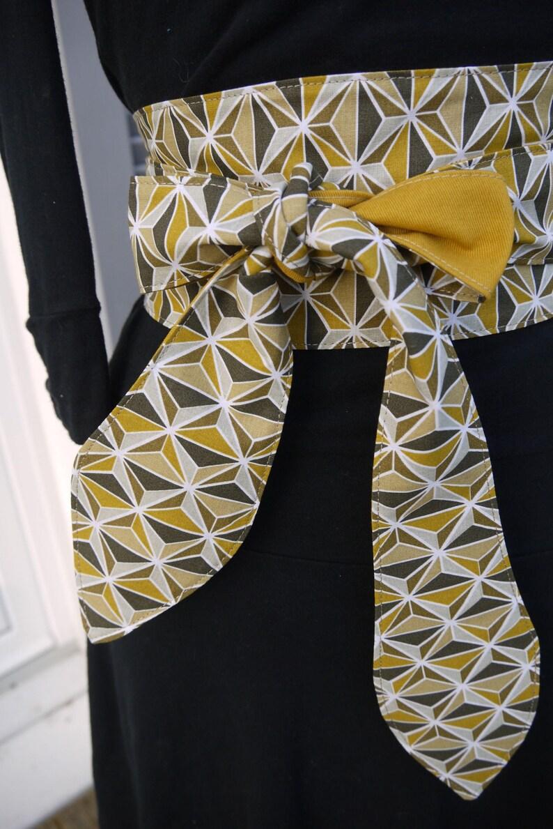 fa5e7275674 Obi belt reversible mustard patterns Japanese style kimono