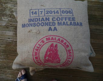 Made of sackcloth with coffee India - recycling upcycling floor cushion