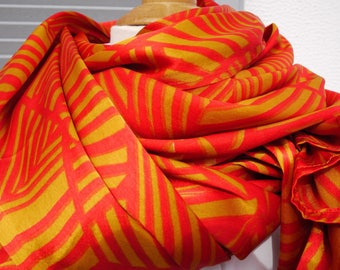 Very large Scarve with sparkling colors orange and yellow - top sarong