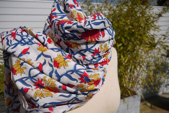 Long scarf or cheche cotton Indian block print printed   Etsy 4e92db962f0