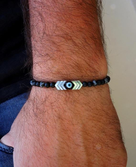 Evil Eye Bracelet Mens Bracelet Arrow Bracelet Silver Etsy