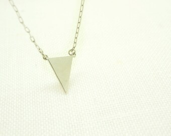 Silver Triangle Necklace -Triangle Charm on Silver Delicate Chain w/ Mint Pendant - Geometric Necklace (available also in Gold)