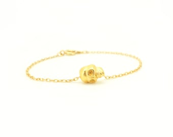 Tiny Skull Bracelet - Gold Tone Skull Charm on Gold Delicate Chain (available also in Silver)