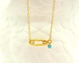 Gold Safety Pin Necklace - Turquoise Necklace - Shower Gift Necklace - Teardrop Necklace - Dainty Necklace