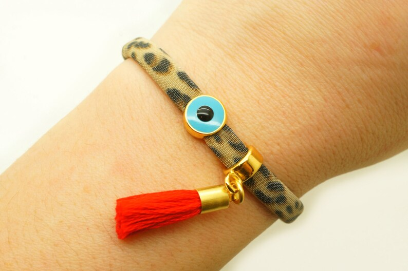 Leopard Turquoise Evil Eye /& Red Tassel Bracelet Nautical Circle T-shirt Yarn Statement Wrap Tassel Skull Mati Bracelet