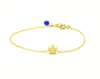 Tiny Star Bracelet - Matte 14k Gold Plated Star Charm on Gold Delicate Chain w/ Cobalt Blue Faceted Pendant (available also in SILVER)