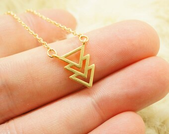 Gold Aztec Chevron Necklace - Triple Triangle Charm on Gold Delicate Chain w/ Mint Pendant - Sleek Dainty Geometric Necklace
