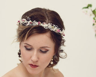Natural rose crown, Bridal crown, Dried flower crown, Rustic wedding headpiece, Flower crown, Baby's breath crown, Ivory bridal headpiece