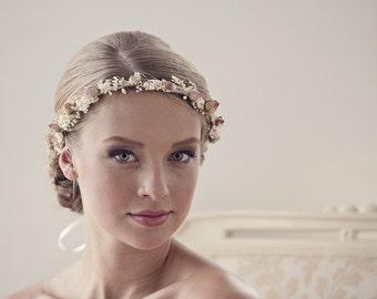 Woodland hair crown Rustic flower crown Boho wedding head piece Dried flower Bridal wreath Floral headpiece Dried flower crown