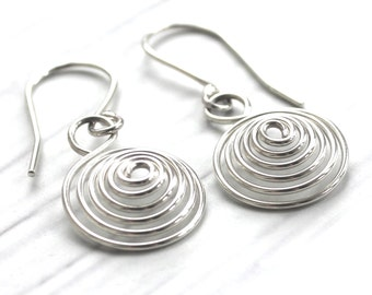Coiled Earrings, Sterling Silver, Coiled Wire Jewellery, Silver Spiral Earrings, Contemporary Earrings, Wire Earrings, Unique Earrings