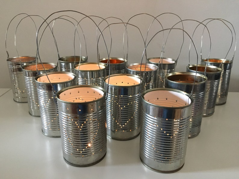 10 Upcycled Wedding Heart Tin Can Lanterns Table Decoration Etsy