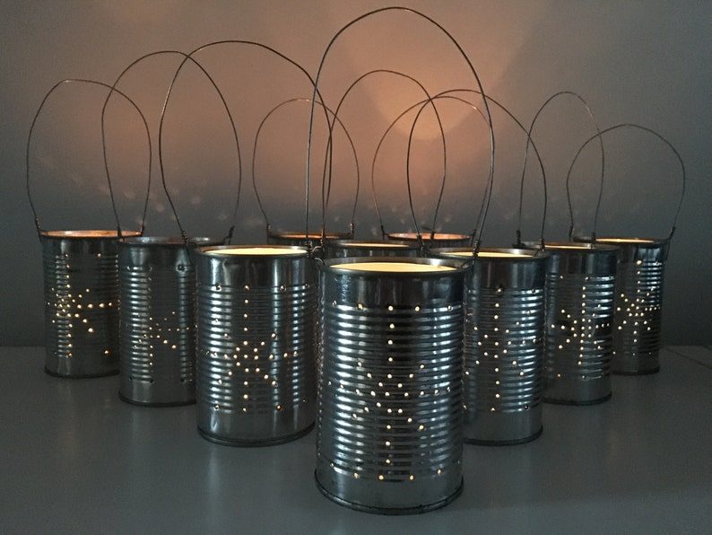 10 Upcycled Star Tin Can Lanterns Table Decoration Etsy