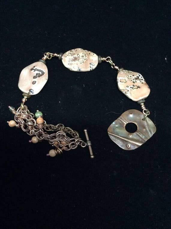 Jasper link bracelet with vintage copper and brass chain, tiny dangles and copper fold formed handmade toggle clasp.