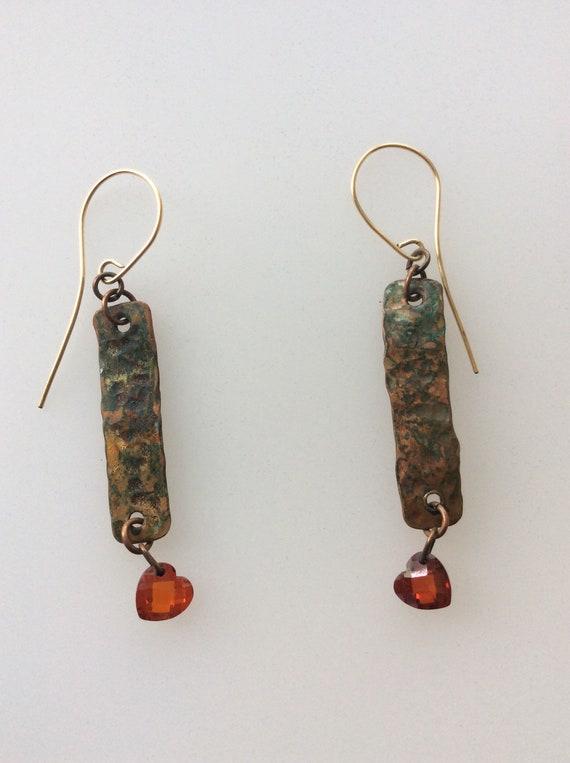 Dangle fold formed copper earrings with Swarvarski padachar hearts!