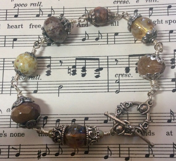 Pewter and Czech bead bracelet