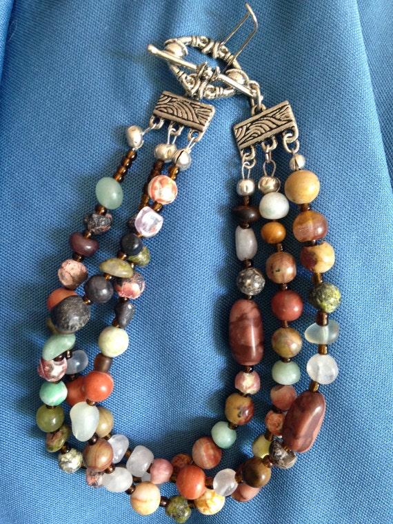 Multi gem bracelet, multi strand bracelet, earth tone jewelry, necklace and bracelet set, toggle clasp, silver bracelet