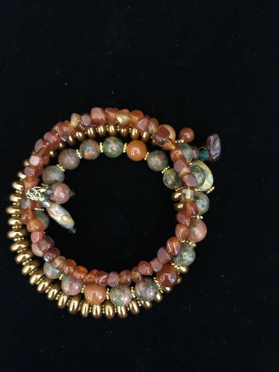 Bohemian Wire bracelet with autumn colors.