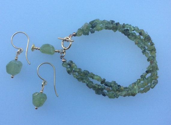 Peridot bracelet and earring set