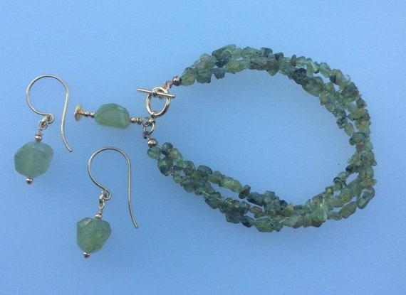 Peridot bracelet and earring set