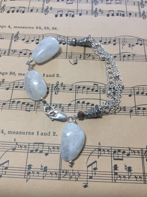 Moonstone nugget and sterling bracelet!