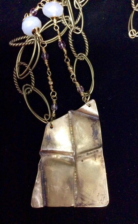 Fold formed brass pendant, double strand, jasper, opaline, Czech glass beads, handmade clasp
