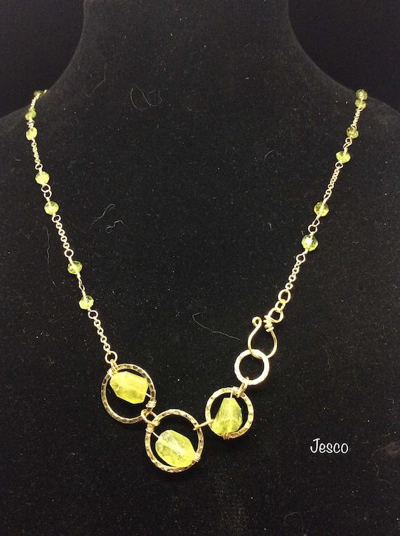 Peridot Stone on a Brass Necklace