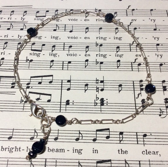 Anklet Black onyx and sterling silver chain