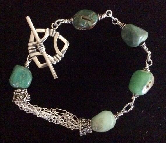 Sterling bracelet, sterling silver bracelet, chryoprase, chryoprase bracelet , silver link bracelet, multi chain bracelet, sterling toggle