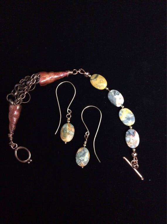 Bracelet and earring set made from Mexican Opal, 14k gold fill and copper.