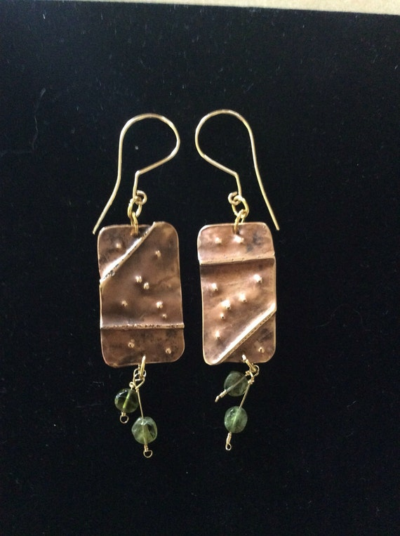Bronze earrings, peridot earrings, dangle earrings, fold formed earrings, hammered earrings, handmade ear wires, 14K gold filled earrings