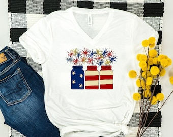 0e224e19f USA Ladies Tee- 4th of July- Fourth of July tee- Watercolor shirt- USA shirt-  Mason Jar