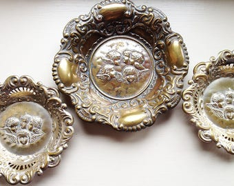 Pin trays/ night light holders, Reynolds Angels repousse design