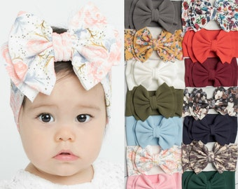 Floppy Bow Girl Bow Messy Bow Baby Bow Baby Headband Big Bow Turban Black /& White Scallops Messy Bow Headband Headwrap