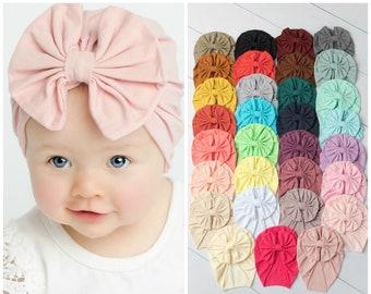 Baby Knot Headband Infant Big Bow Baby Girl Headband Baby Turban Headband Newborn Stretch Headwrap Wide Nylon Turban White Hair Bow