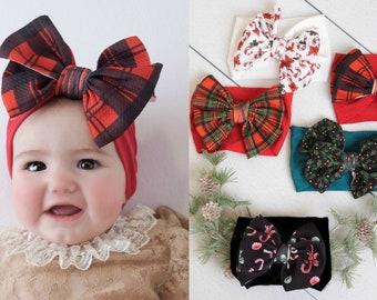 Velvet Bow Baby Girl Headband Christmas  Glitter Newborn Toddler Headbands Lot