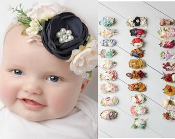 SATIN FLOWER BABY PREEMIE TODDLER GIRL NYLON NUDE HEADBANDS VARIOUS COLORS