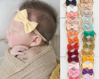 The Rosie Bow Custom Set Nylon Headband Baby Headband Toddler Headband Velvet Bow