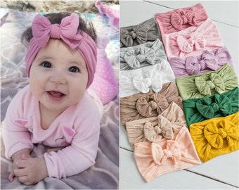 Nylon Baby girl headbands,White Bow Baby headband ,One size fits all baby head wraps, top knot headbands head wraps, wide nylon headband